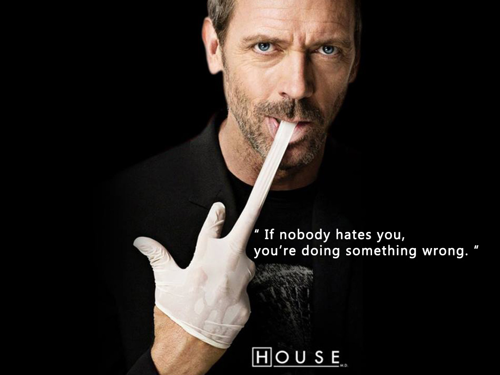 DR House If nobody hates you, you're doing something wrong.