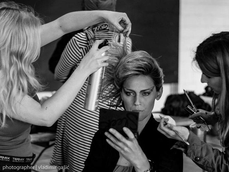 Upstyle in progress behind the scenes hairstyles Ana-Marija Hota