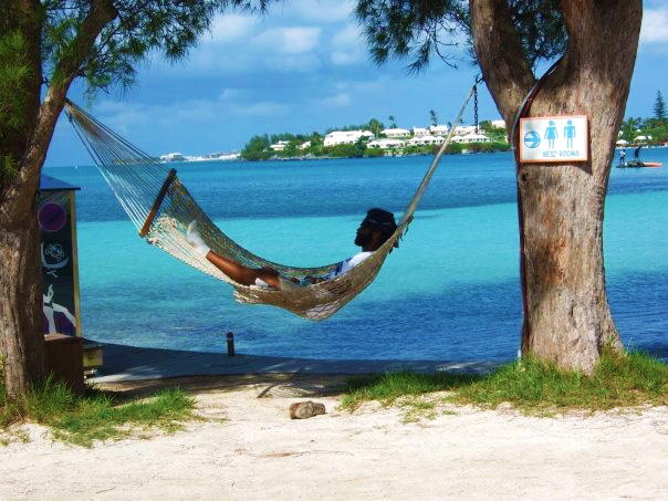 Guy afternoon nap in tree net - Bermuda