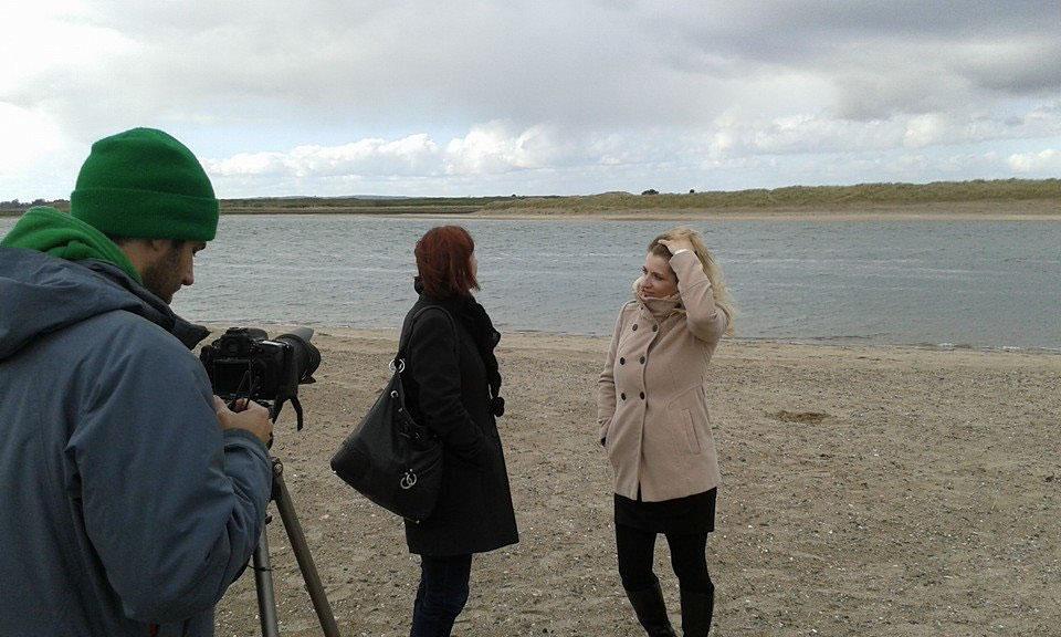 Interview set on a beach