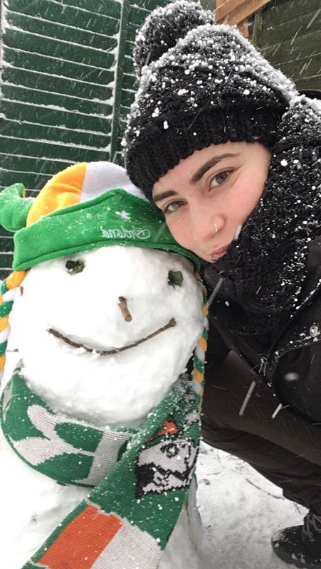 Woman with Irish snowman