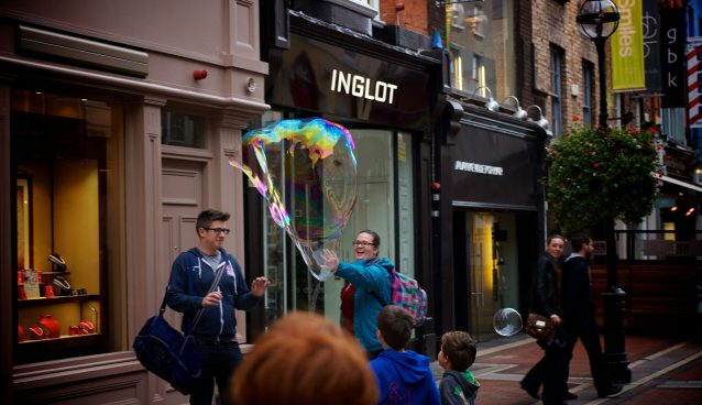 Soap bubble Dublin street