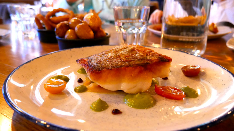 Pan fried hake dinner menu restaurant Cleaver East