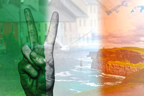 Victory hand Ireland flag